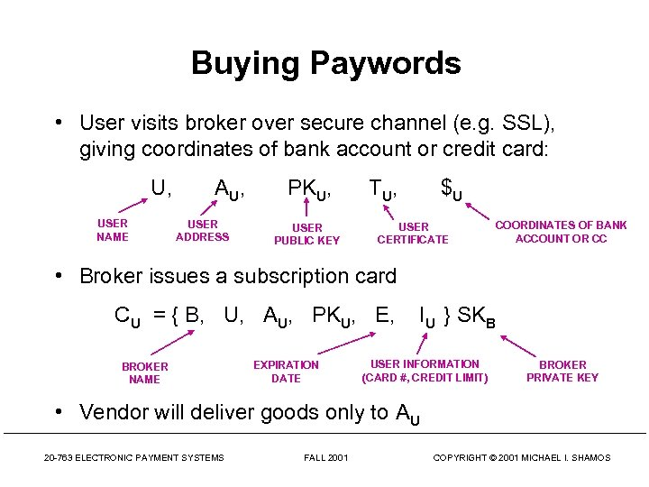 Buying Paywords • User visits broker over secure channel (e. g. SSL), giving coordinates