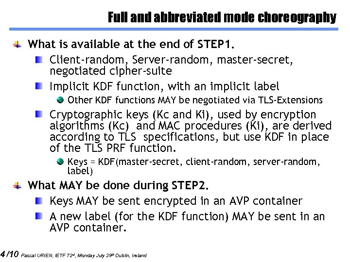 4 /10 Full and abbreviated mode choreography What is available at the end of