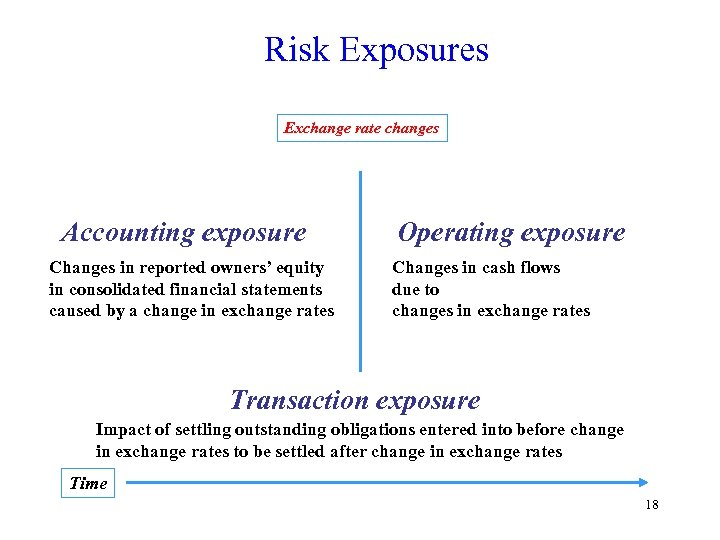 Risk Exposures Exchange rate changes Accounting exposure Changes in reported owners' equity in consolidated