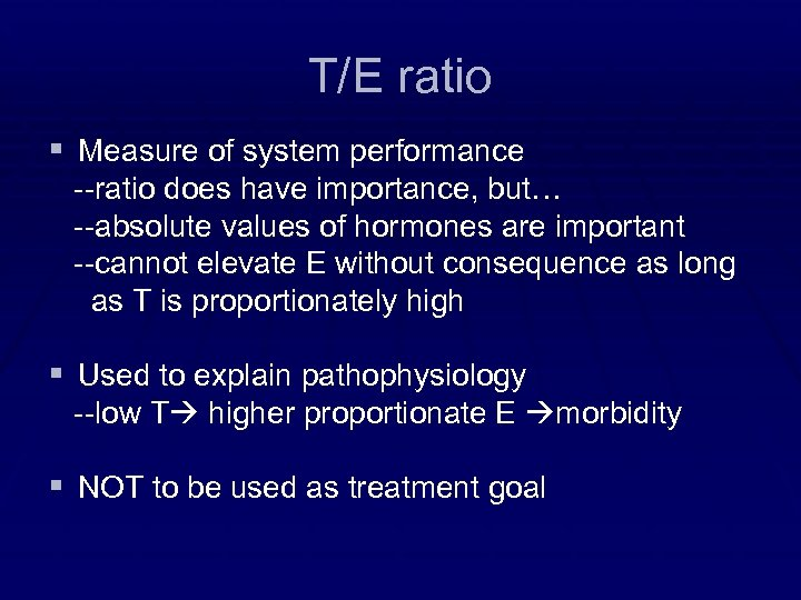 T/E ratio § Measure of system performance --ratio does have importance, but… --absolute values