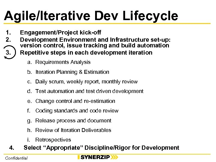 Agile/Iterative Dev Lifecycle 1. 2. 3. Engagement/Project kick-off Development Environment and Infrastructure set-up: version