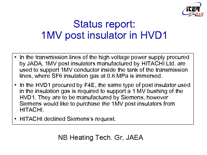 Status report: 1 MV post insulator in HVD 1 • In the transmission lines