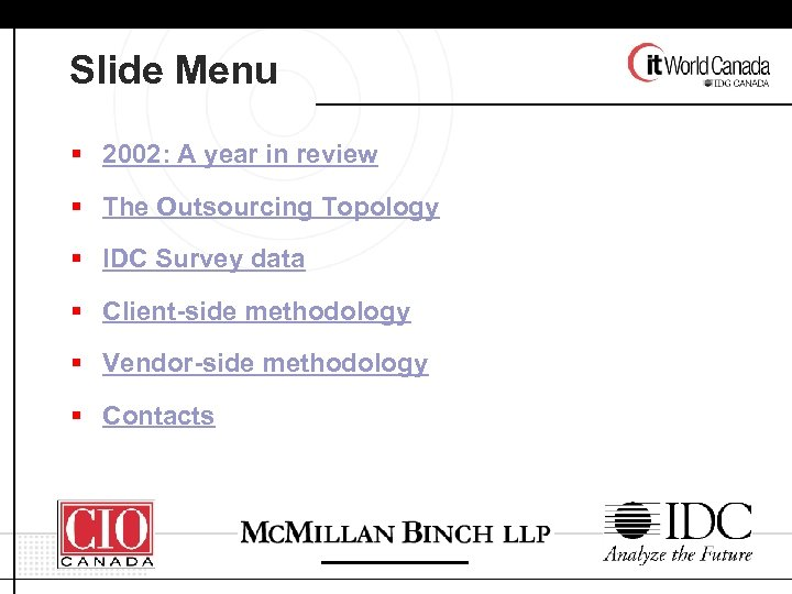 Slide Menu § 2002: A year in review § The Outsourcing Topology § IDC