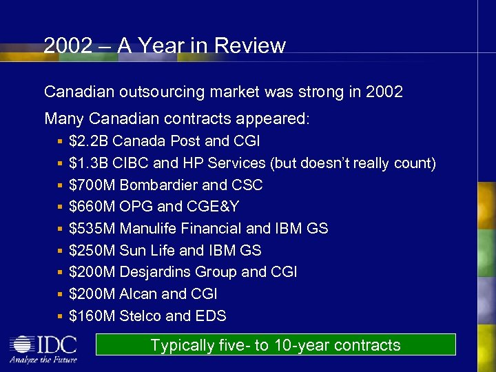 2002 – A Year in Review Canadian outsourcing market was strong in 2002 Many