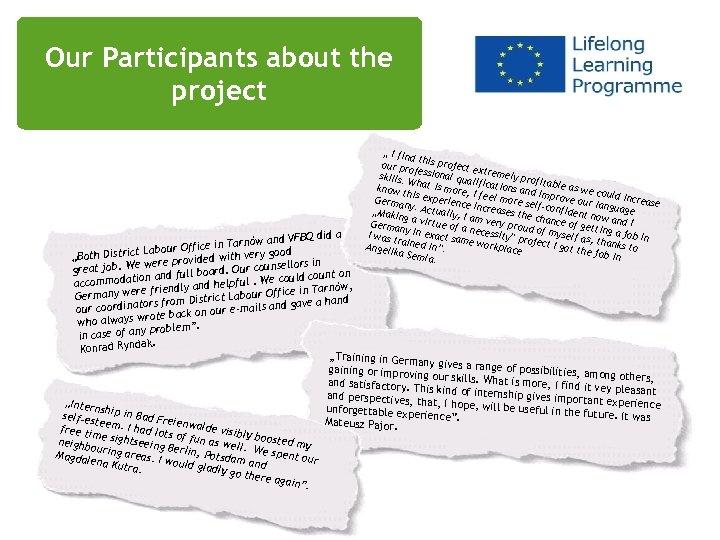 "Our Participants about the Uczestnicy o projekcie project "" I find t our pr"