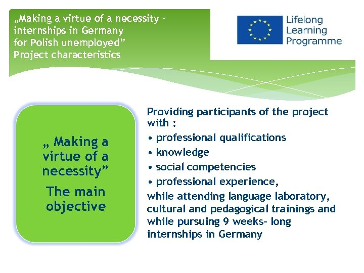 """""""Making a virtue of a necessity – internships in Germany for Polish unemployed"""" Project"""
