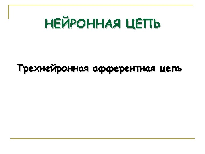 НЕЙРОННАЯ ЦЕПЬ Трехнейронная афферентная цепь 44