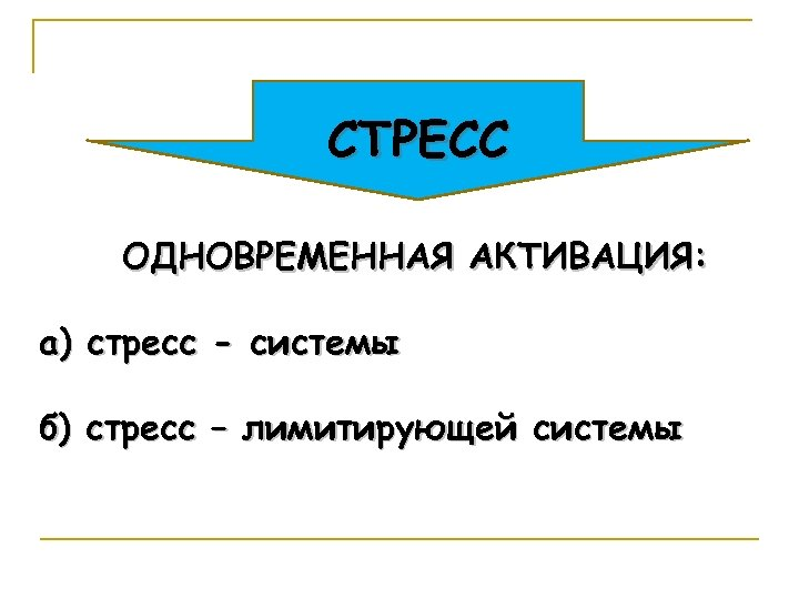 СТРЕСС ОДНОВРЕМЕННАЯ АКТИВАЦИЯ: а) стресс - системы б) стресс – лимитирующей системы