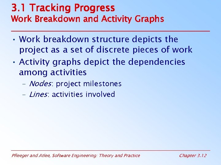 3. 1 Tracking Progress Work Breakdown and Activity Graphs • Work breakdown structure depicts