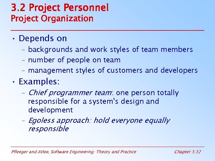 3. 2 Project Personnel Project Organization • Depends on – backgrounds and work styles