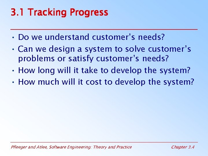 3. 1 Tracking Progress • Do we understand customer's needs? • Can we design