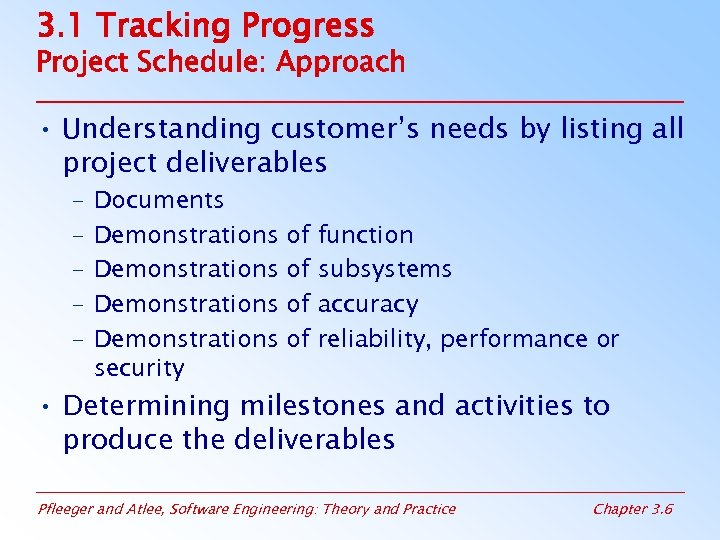 3. 1 Tracking Progress Project Schedule: Approach • Understanding customer's needs by listing all