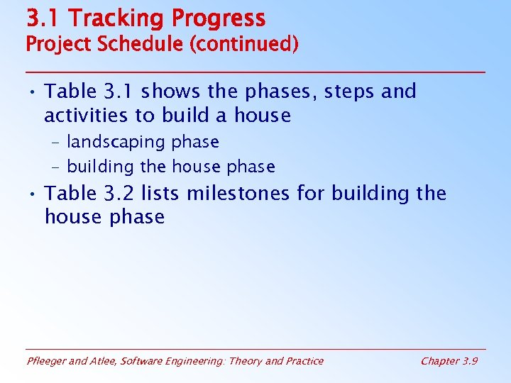 3. 1 Tracking Progress Project Schedule (continued) • Table 3. 1 shows the phases,