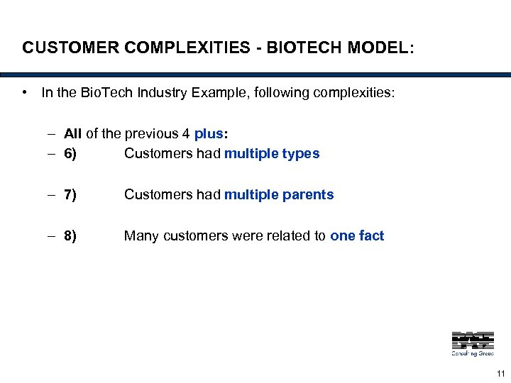 CUSTOMER COMPLEXITIES - BIOTECH MODEL: • In the Bio. Tech Industry Example, following complexities: