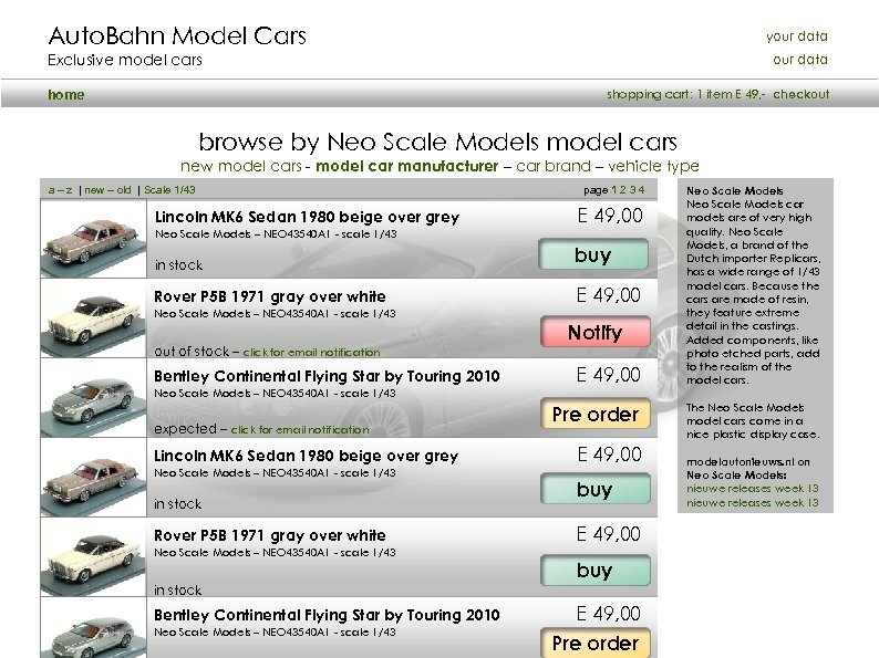 Auto. Bahn Model Cars your data Exclusive model cars our data shopping cart: 1