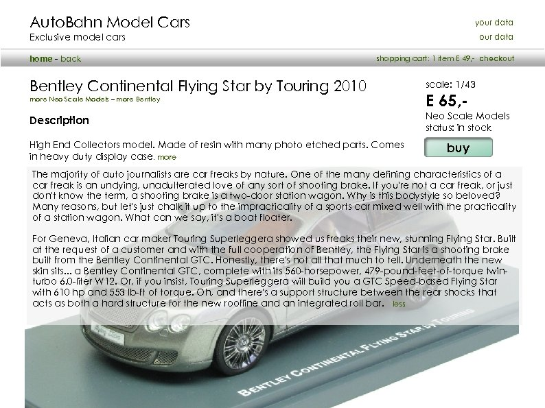 Auto. Bahn Model Cars your data Exclusive model cars home - back our data