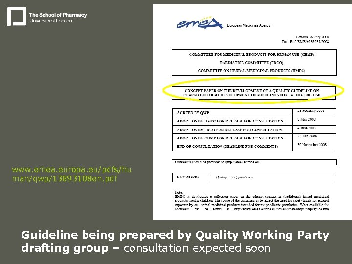 www. emea. europa. eu/pdfs/hu man/qwp/13893108 en. pdf Guideline being prepared by Quality Working Party