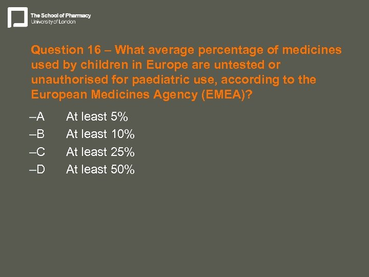 Question 16 – What average percentage of medicines used by children in Europe are