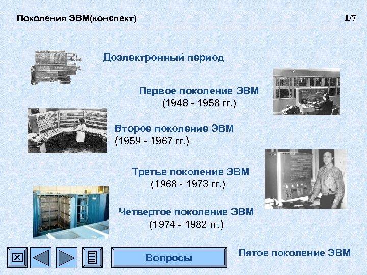 Поколения ЭВМ(конспект) 1/7 Доэлектронный период Первое поколение ЭВМ (1948 - 1958 гг. ) Второе