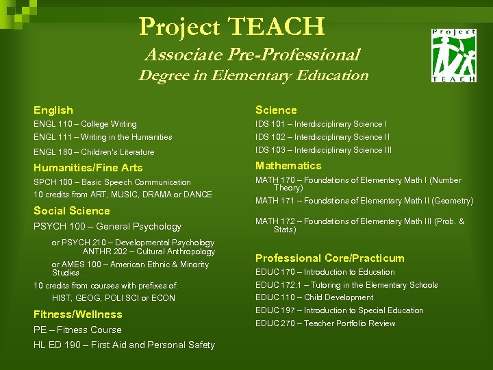 Project TEACH Associate Pre-Professional Degree in Elementary Education English Science ENGL 110 – College