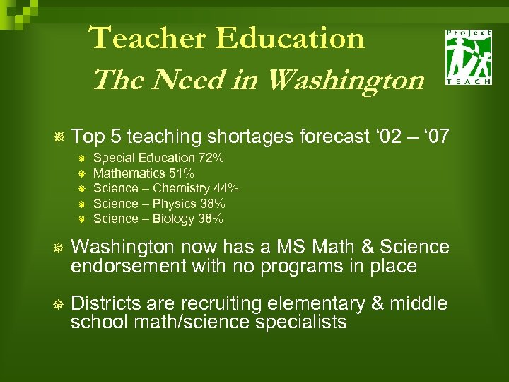 Teacher Education The Need in Washington ¯ Top 5 teaching shortages forecast ' 02