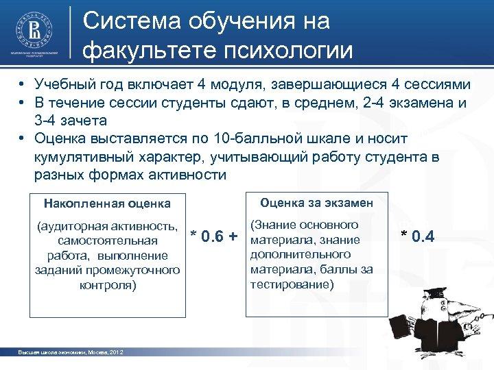 Система обучения на факультете психологии • Учебный год включает 4 модуля, завершающиеся 4 сессиями