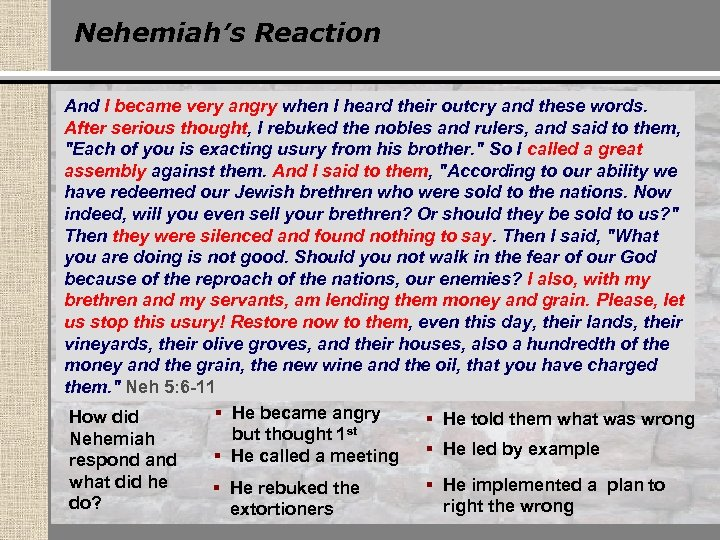 Nehemiah's Reaction And I became very angry when I heard their outcry and these
