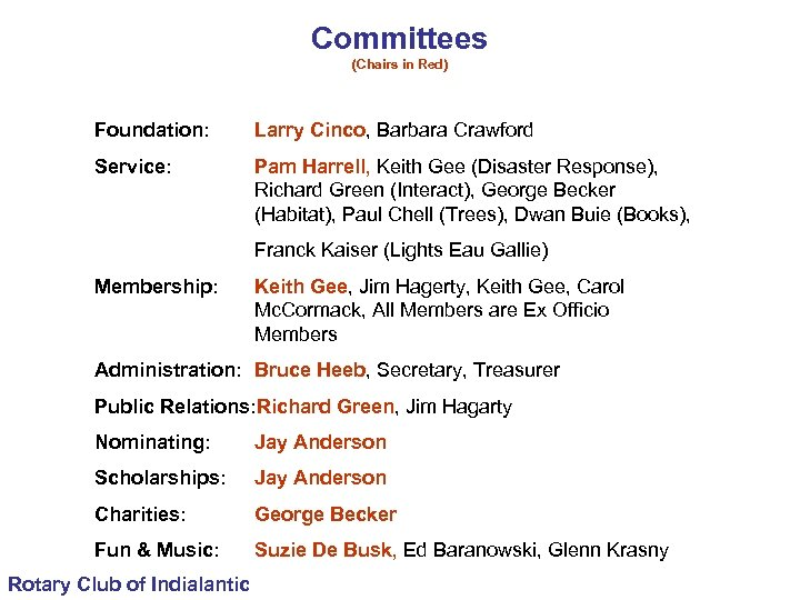 Committees (Chairs in Red) Foundation: Larry Cinco, Barbara Crawford Service: Pam Harrell, Keith Gee