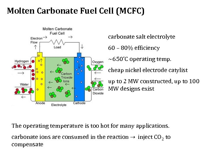 Molten Carbonate Fuel Cell (MCFC) carbonate salt electrolyte 60 – 80% efficiency ~650˚C operating