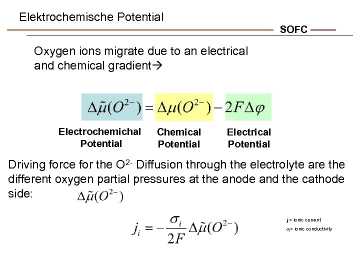 Elektrochemische Potential SOFC Oxygen ions migrate due to an electrical and chemical gradient Electrochemichal