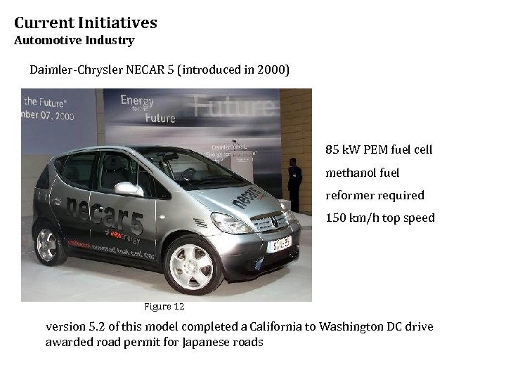 Current Initiatives Automotive Industry Daimler-Chrysler NECAR 5 (introduced in 2000) 85 k. W PEM