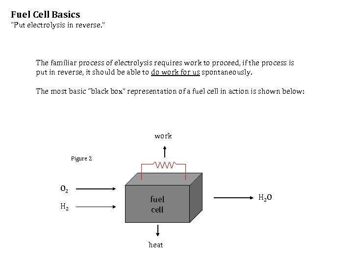 """Fuel Cell Basics """"Put electrolysis in reverse. """" The familiar process of electrolysis requires"""