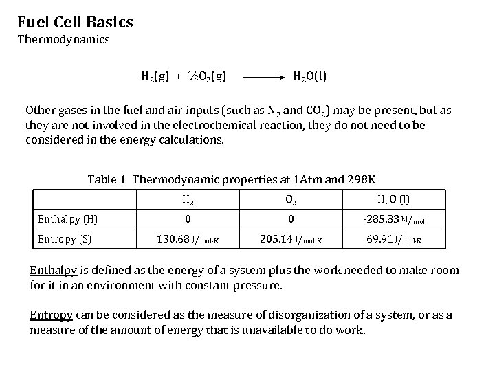 Fuel Cell Basics Thermodynamics H 2(g) + ½O 2(g) H 2 O(l) Other gases