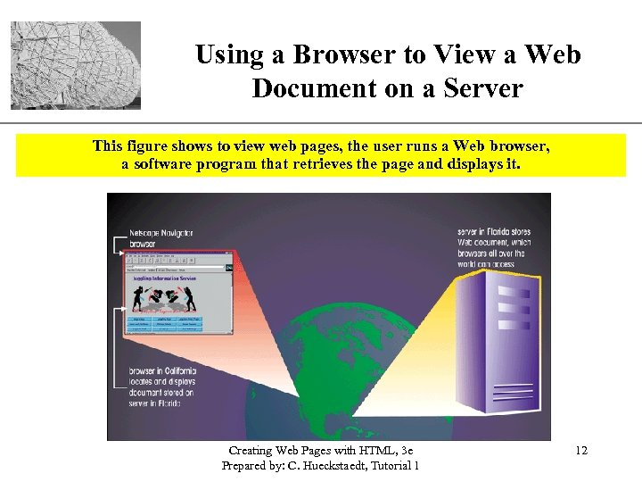 Using a Browser to View a Web XP Document on a Server This figure