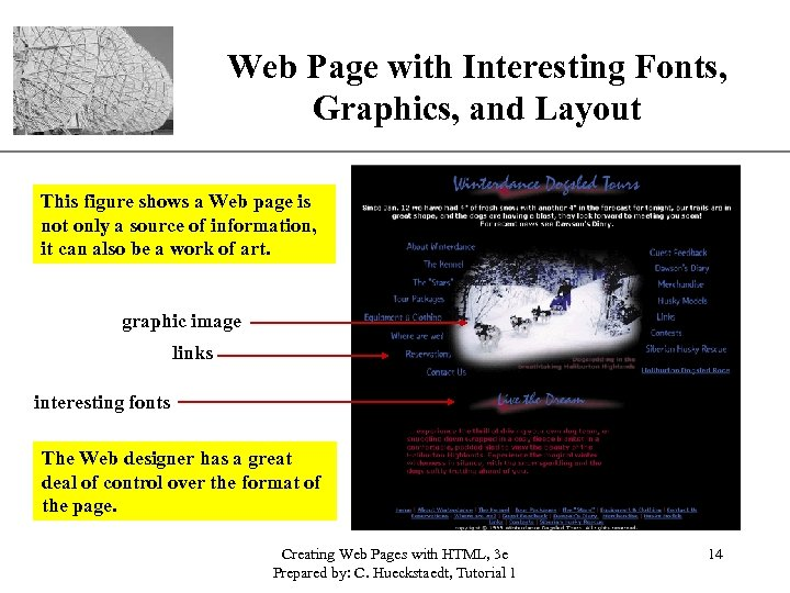 Web Page with Interesting Fonts, XP Graphics, and Layout This figure shows a Web