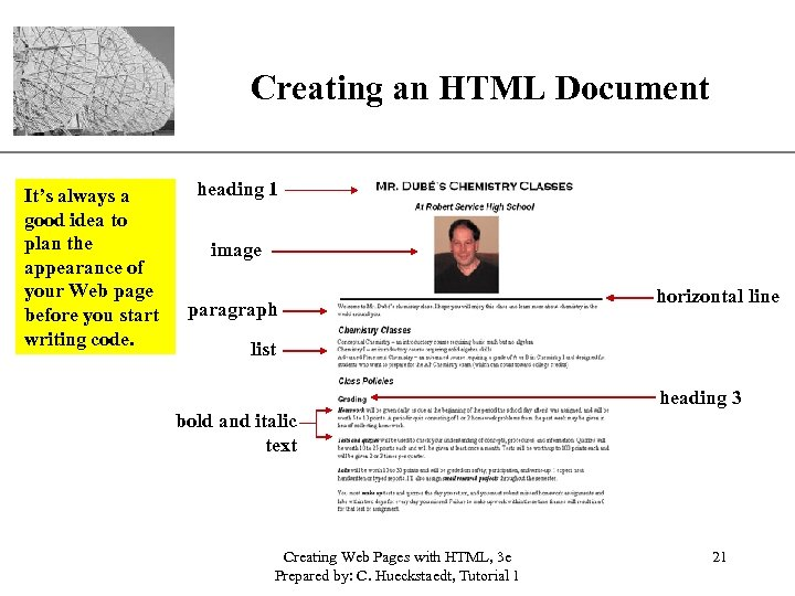 Creating an HTML Document It's always a good idea to plan the appearance of
