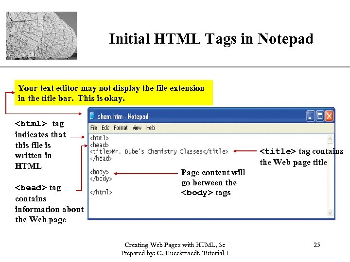 Initial HTML Tags in Notepad XP Your text editor may not display the file