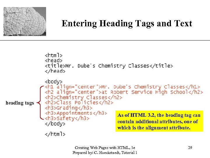 XP Entering Heading Tags and Text heading tags As of HTML 3. 2, the