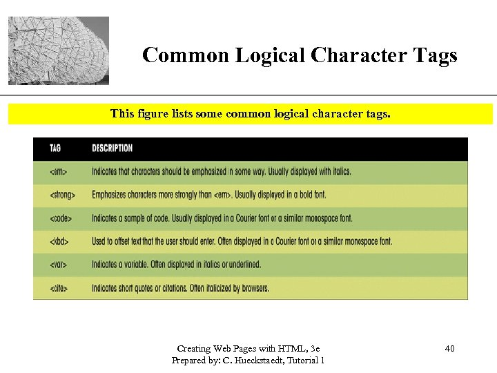 XP Common Logical Character Tags This figure lists some common logical character tags. Creating