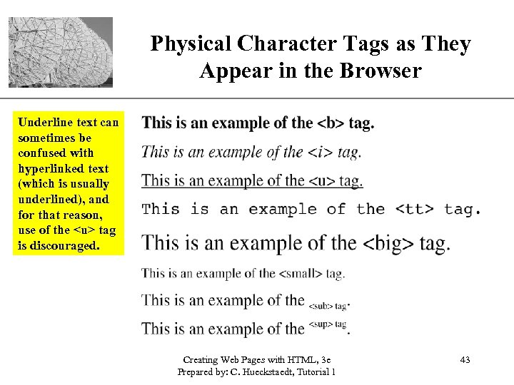 Physical Character Tags as They. XP Appear in the Browser Underline text can sometimes