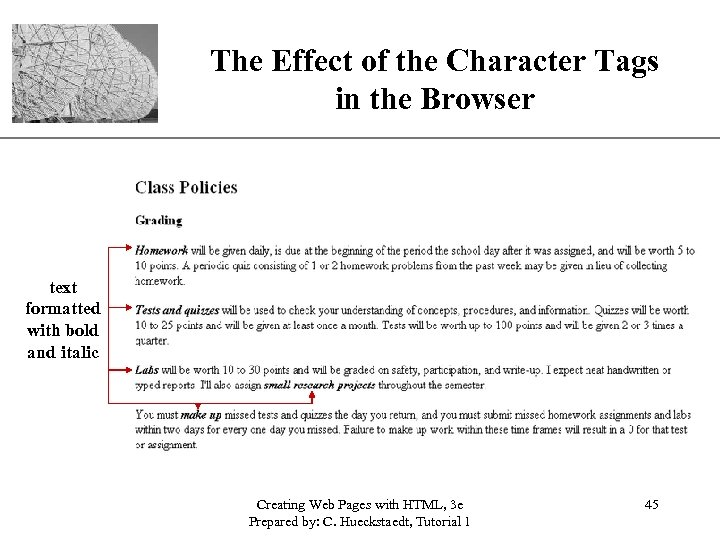 The Effect of the Character Tags. XP in the Browser text formatted with bold