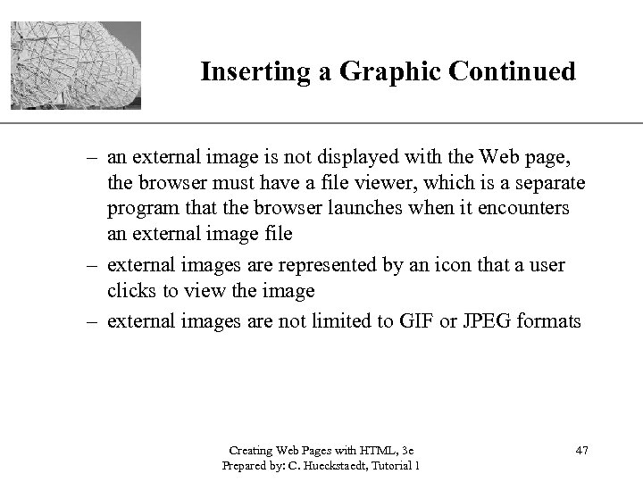 Inserting a Graphic Continued XP – an external image is not displayed with the