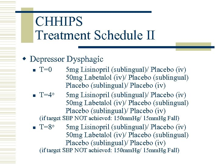 CHHIPS Treatment Schedule II w Depressor Dysphagic n T=0 n T=4 o 5 mg