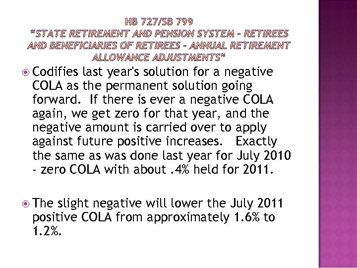 Codifies last year's solution for a negative COLA as the permanent solution going