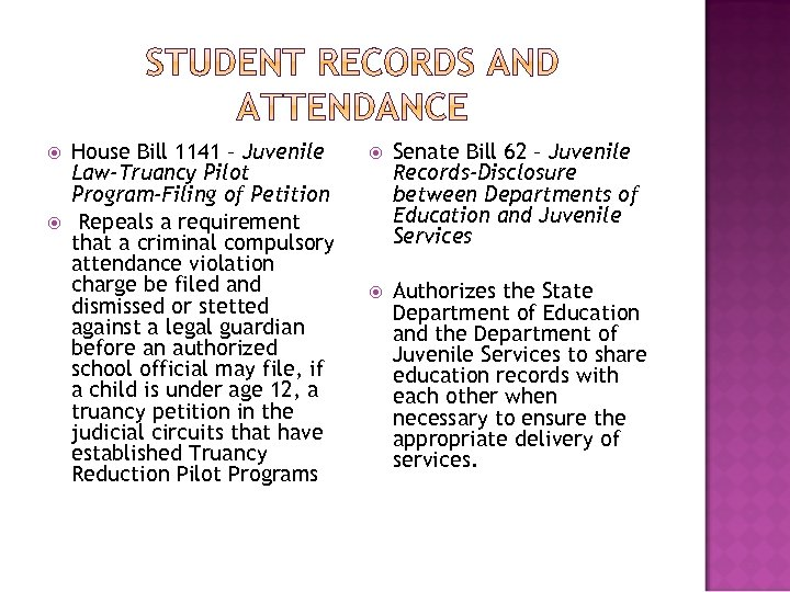 House Bill 1141 – Juvenile Law-Truancy Pilot Program-Filing of Petition Repeals a requirement
