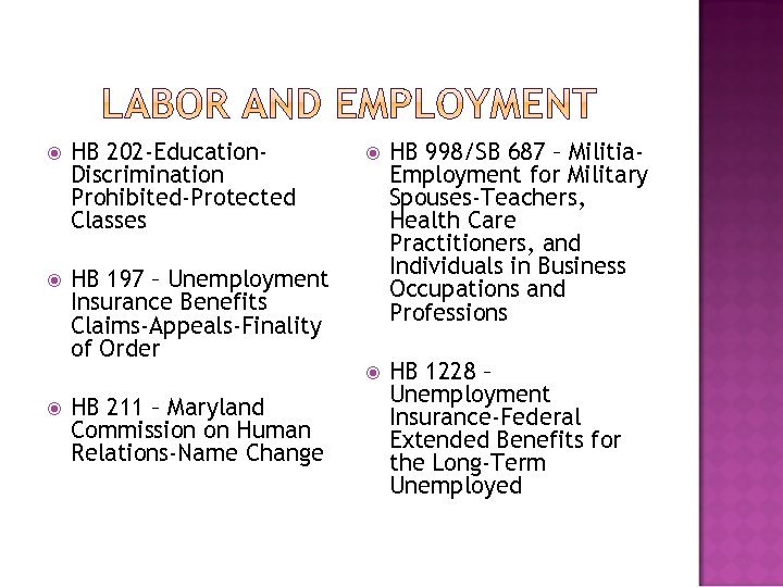 HB 202 -Education. Discrimination Prohibited-Protected Classes HB 197 – Unemployment Insurance Benefits Claims-Appeals-Finality
