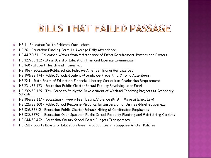 HB 1 – Education-Youth Athletes-Concussions HB 26 – Education Funding Formula-Average Daily Attendance
