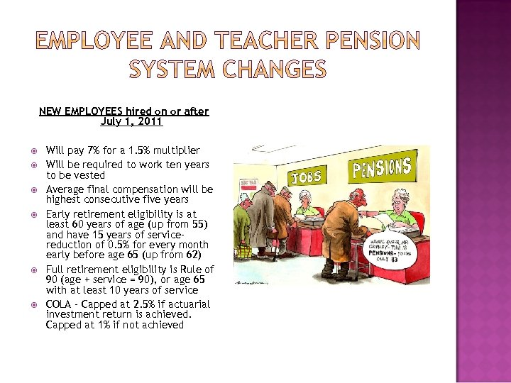 NEW EMPLOYEES hired on or after July 1, 2011 Will pay 7% for a