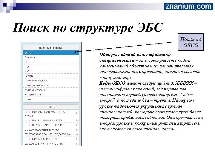 Поиск по структуре ЭБС Поиск по ОКСО Общероссийский классификатор специальностей – это совокупность кодов,