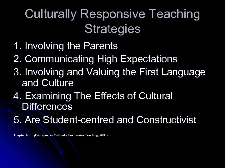 Culturally Responsive Teaching Strategies 1. Involving the Parents 2. Communicating High Expectations 3. Involving